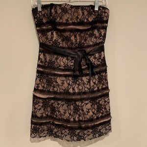 BCBG MAX AZRIA pink black lace tube top dress 4